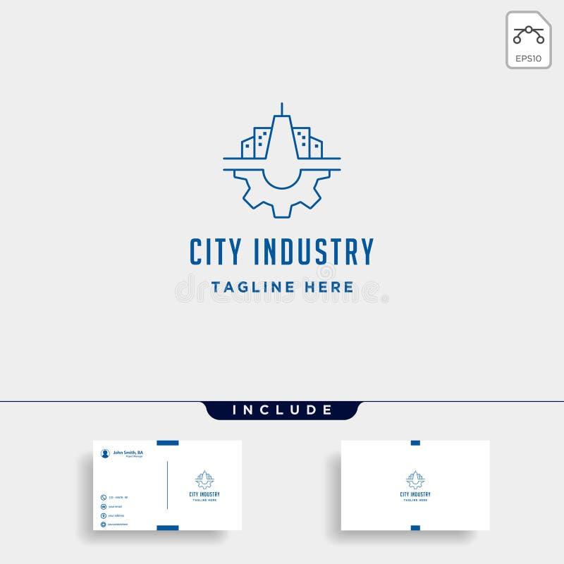 Ilustração do projeto do símbolo de Logo Vetora Industrial da engrenagem da cidade ilustração stock