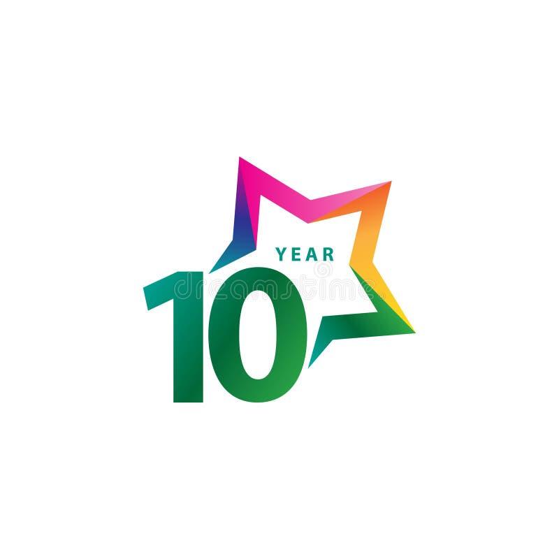 Ilustração do projeto do vetor de um aniversário de 10 anos ilustração stock