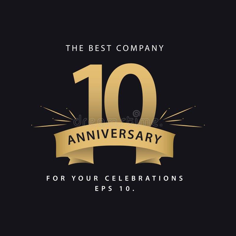 Ilustração do projeto do vetor de um aniversário de 10 anos; k ilustração royalty free