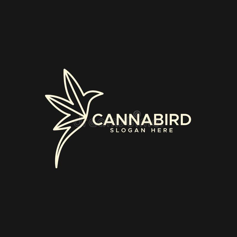 Ilustração do projeto do vetor do logotipo do monoline do pássaro do cannabis ilustração do vetor