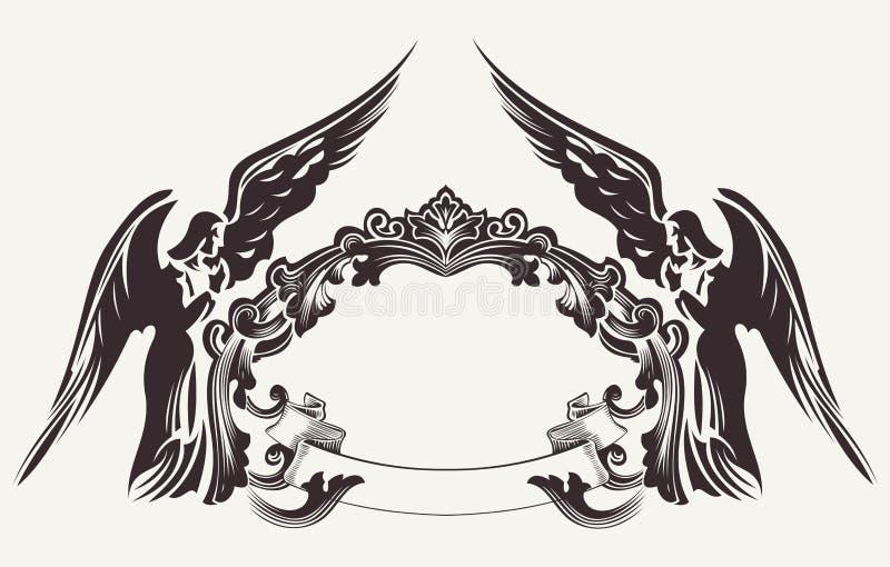 Ilustração do quadro da Páscoa do vintage e dois anjos ilustração stock