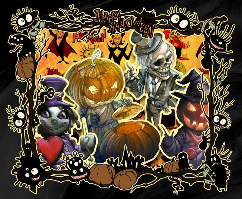 Ilustração do quadro do Dia das Bruxas dos desenhos animados decorada com as criaturas estranhas más diversas ilustração royalty free