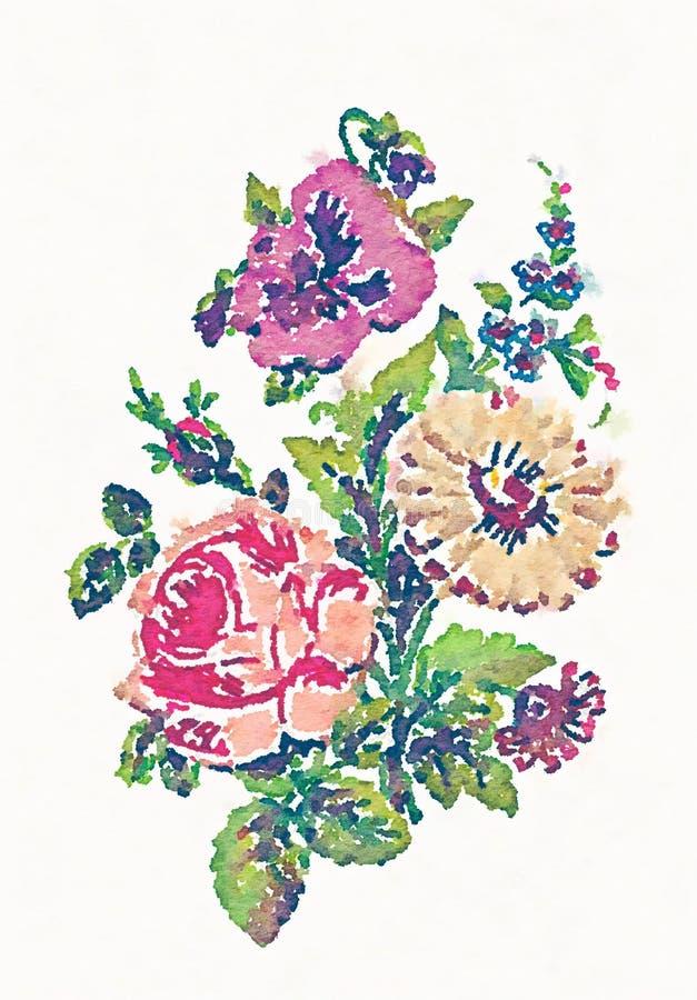Ilustração do ramalhete da flor da aquarela ilustração do vetor