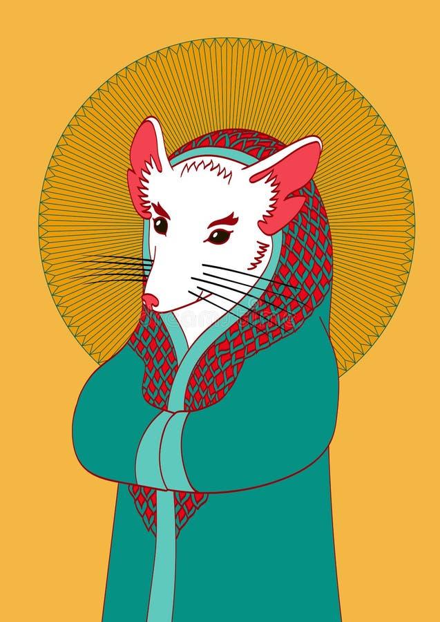 Ilustração do rato branco com orelhas e o nariz cor-de-rosa em um bea imagens de stock royalty free