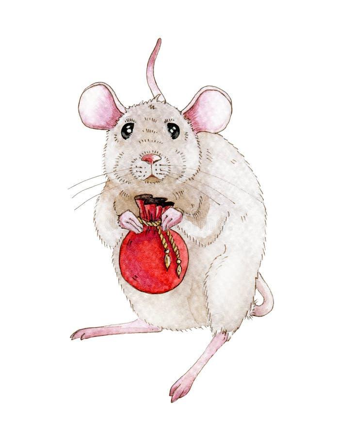 Ilustração do rato ou do rato da aquarela com saco pequeno completamente do Natal, presentes do ano novo Pouco rato um simbol de  ilustração do vetor