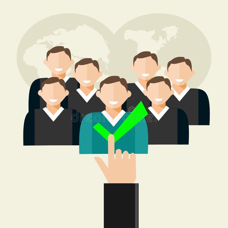 Ilustração do recrutamento Os recursos humanos, encontrando o empregado, recrutam o candidato ilustração royalty free