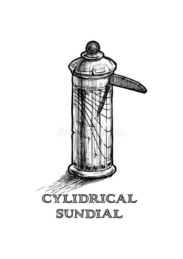Ilustração do relógio de sol cilíndrico ilustração stock