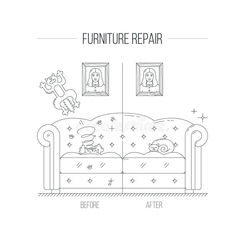 Ilustração do reparo da mobília com sofá velho ilustração do vetor