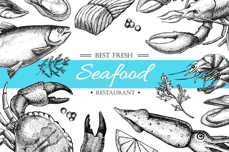 Ilustração do restaurante do marisco do vintage do vetor ilustração royalty free