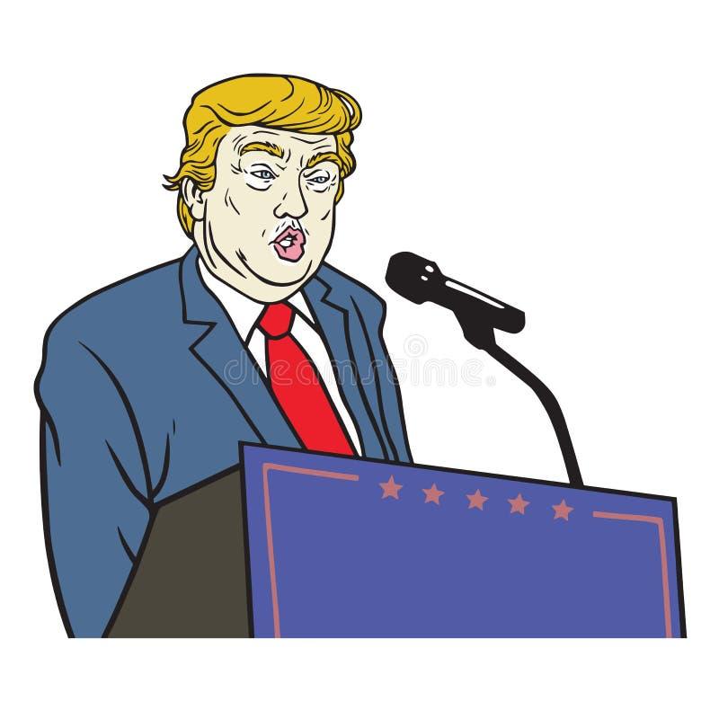 Ilustração do retrato de Donald Trump Inauguration Speech Vetora ilustração stock