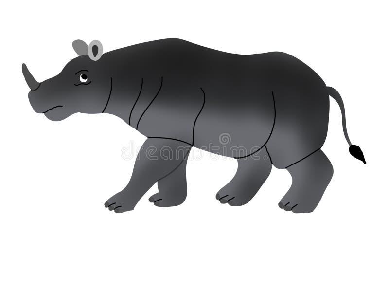 Ilustração do rinoceronte preto, espécie em vias de extinção ilustração do vetor