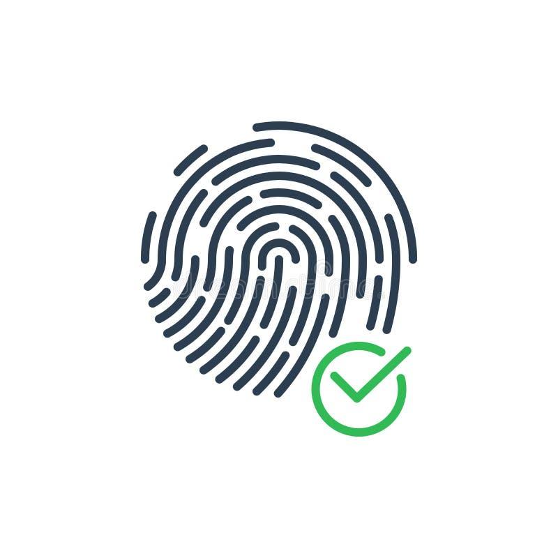 Ilustração do símbolo do ícone e do vetor da segurança da impressão digital da confirmação ilustração do vetor