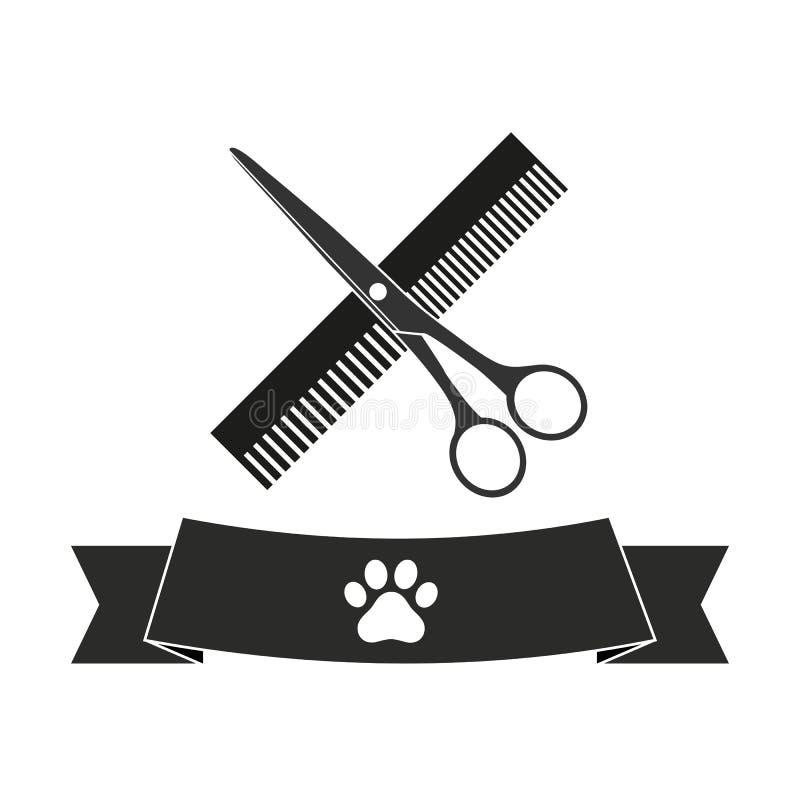 Ilustração do símbolo do cabeleireiro para animais com pente e tesouras com bandeira ilustração do vetor
