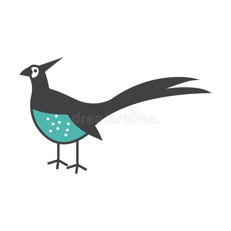 Ilustração do símbolo do sinal do vetor do pássaro do faisão ilustração do vetor