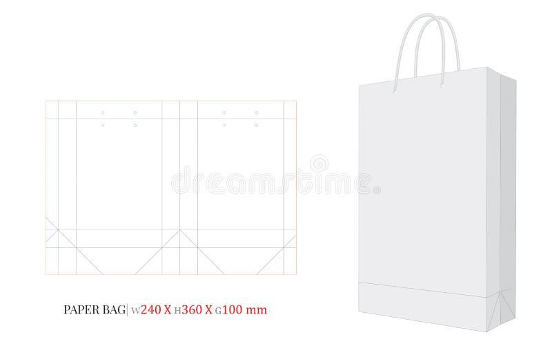 Ilustração do saco de papel, saco de compras, 240 x 360 x 100 ilustração do vetor