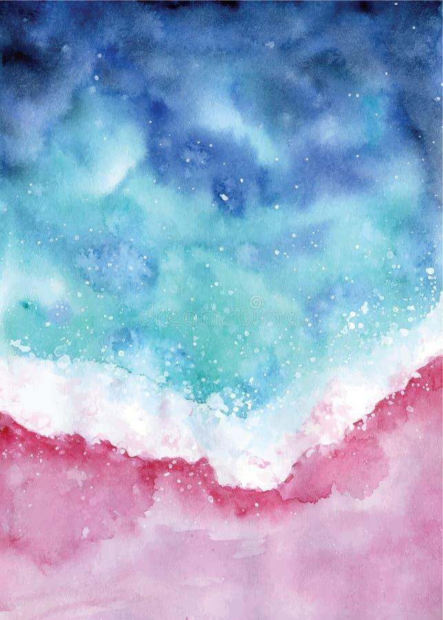 Ilustração do seascape do sumário da opinião superior da praia da aquarela ilustração royalty free