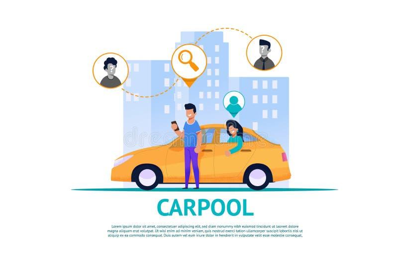 Ilustração do serviço do Carpool Cooperação da rota ilustração royalty free
