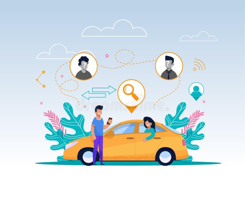 Ilustração do serviço do Carpool Personagem de banda desenhada ilustração do vetor