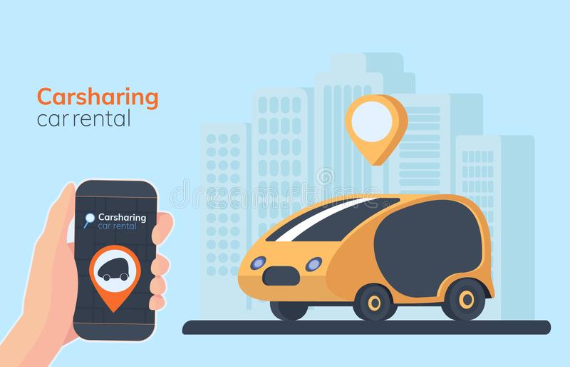 Ilustração do serviço do Carsharing Fundo, geolocation, carro e smartphone urbanos da paisagem à disposição Carro alugado em linh ilustração stock