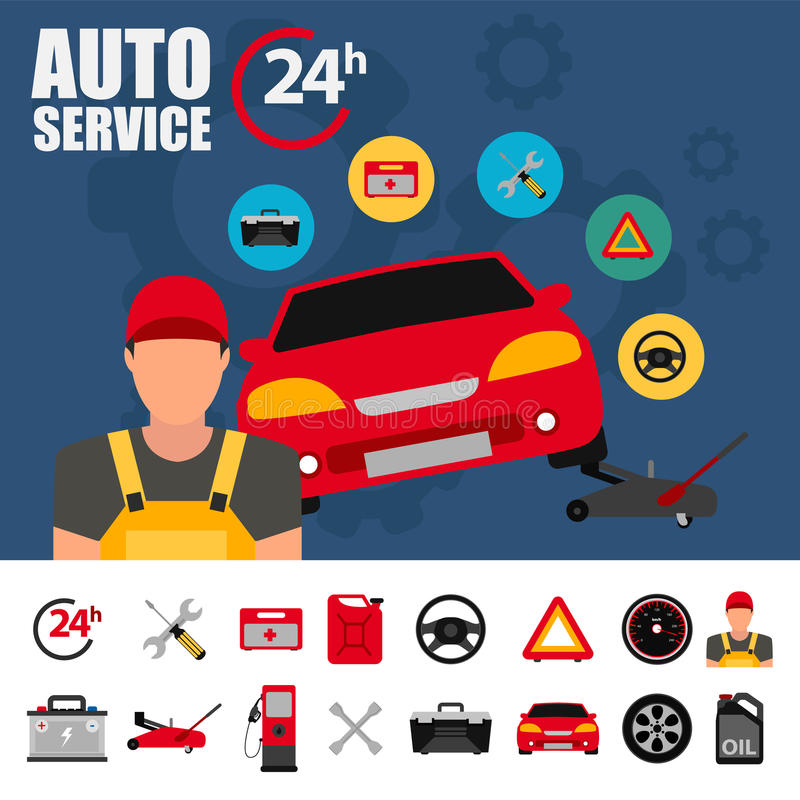 Ilustração do serviço do carro com grupo liso do ícone Ícones do plano de serviço do auto mecânico do reparo e do trabalho do car ilustração stock