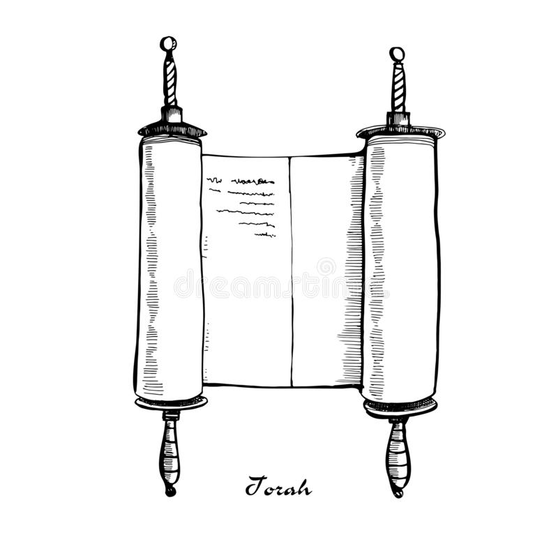 Ilustração do shavuot da Bíblia do livro do rolo de Torah Pergaminho antigo do rolo com punhos de madeira Esbo?o desenhado m?o ilustração royalty free
