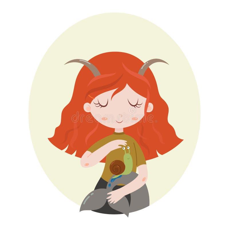 Ilustração do sinal astrológico do Capricórnio como uma menina bonita Luz do vetor art ilustração royalty free