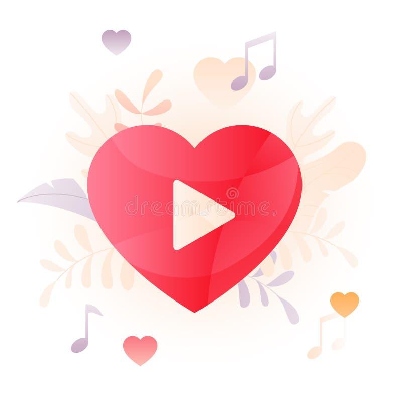 Ilustração do sinal do coração do jogador de Wideo ilustração do vetor