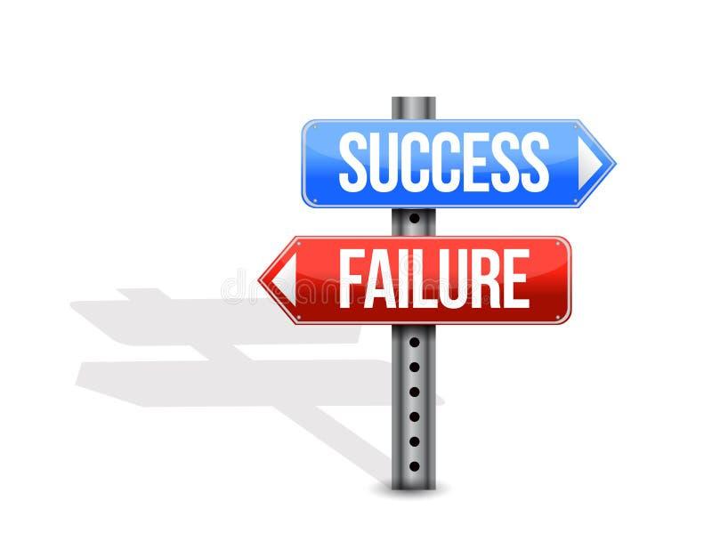 ilustração do sinal de rua do sucesso e da falha ilustração do vetor