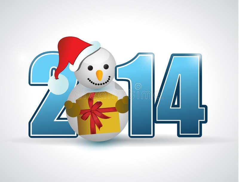 ilustração 2014 do sinal do ano do boneco de neve do Natal ilustração do vetor