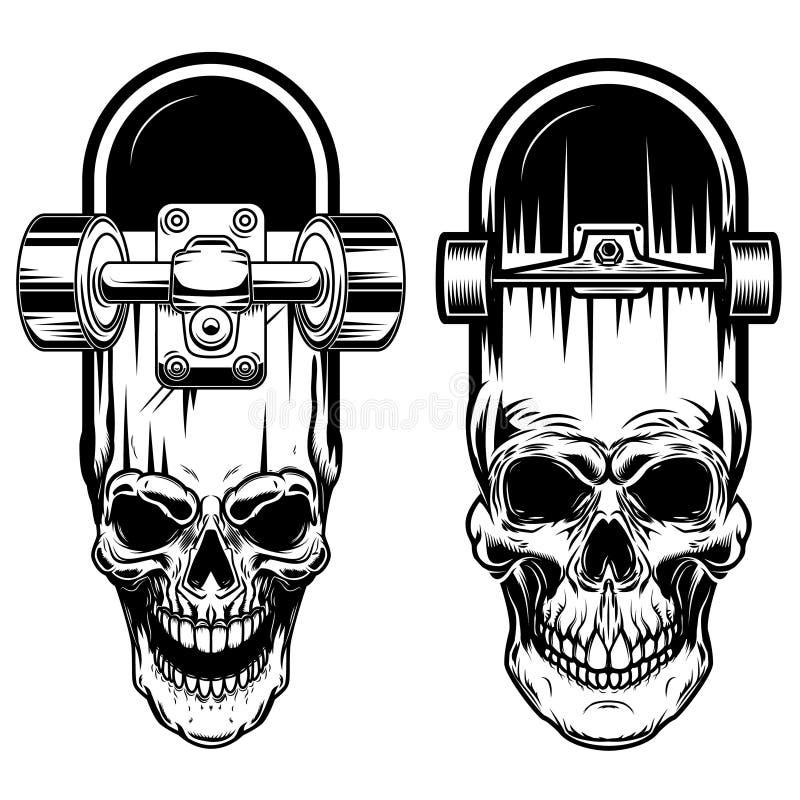 Ilustração do skate com crânio Projete o elemento para o logotipo, etiqueta, sinal, cartaz, camisa de t ilustração royalty free