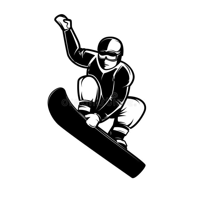 Ilustração do Snowboarder no fundo branco Projete o elemento para o emblema, assine-o, etiquete-o, cartaz ilustração stock