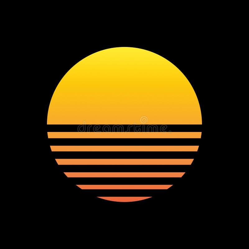 ilustração do sol 80s no preto ilustração stock