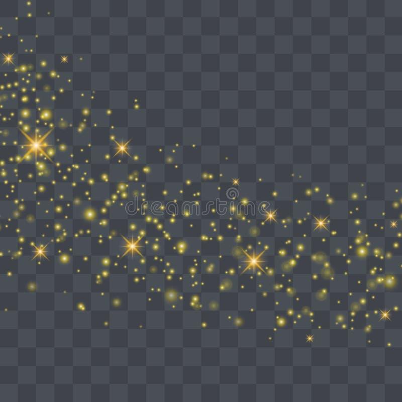 Ilustração do sumário da onda do brilho do ouro do vetor Poeira de estrela do ouro ilustração stock