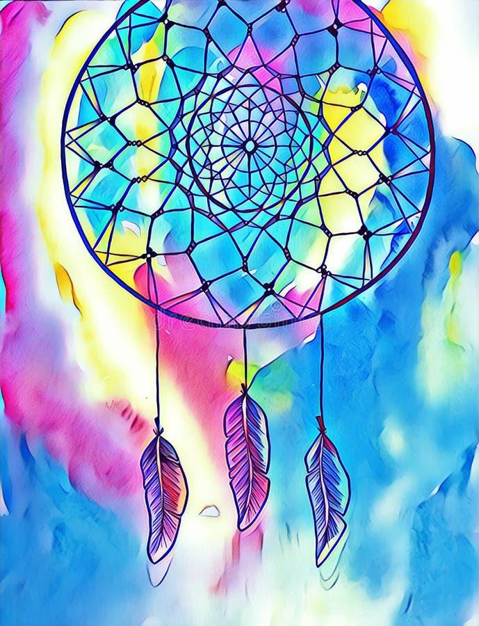 Ilustração do sumário da tinta de Dreamcatcher Ilustração de Digitas de um dreamcatcher tribal imagens de stock royalty free