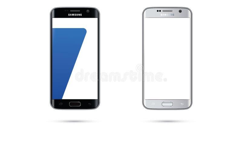 Ilustração do tela táctil do telefone celular da borda da galáxia S7 de Android Samsung do vetor ilustração royalty free