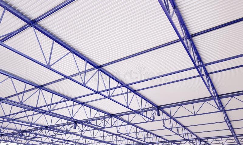 Ilustração do telhado 3d do metal da construção industrial ilustração stock