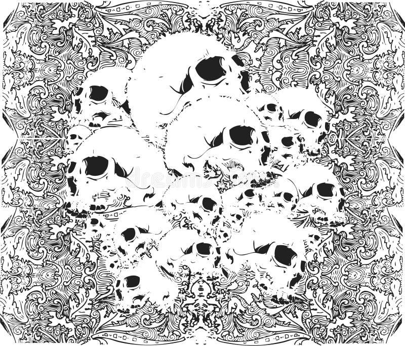 Ilustração do teste padrão dos crânios ilustração stock