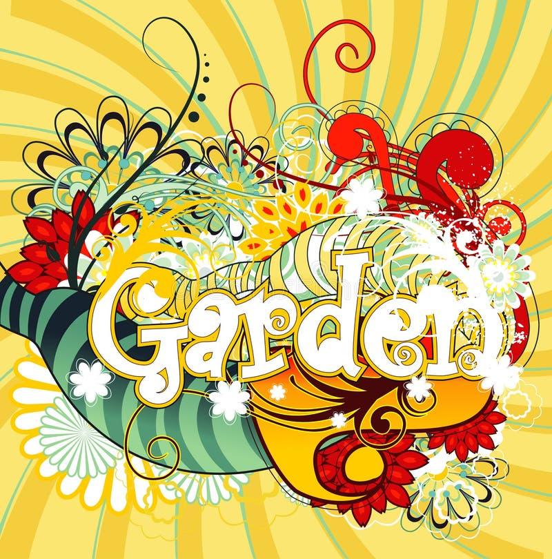 Ilustração do texto do jardim ilustração royalty free