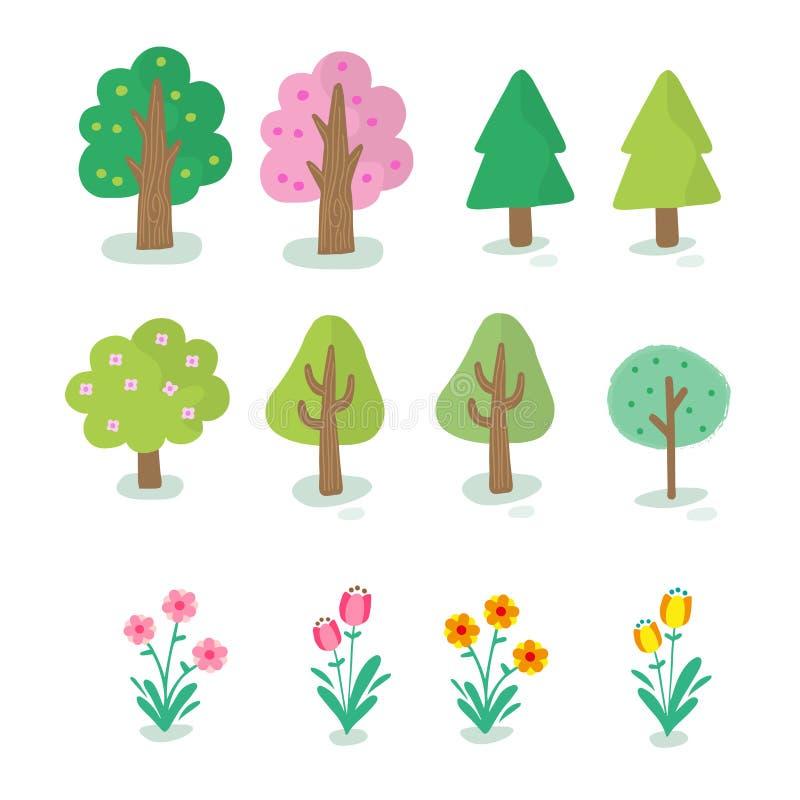 Ilustração do tipo diferente da árvore ilustração royalty free