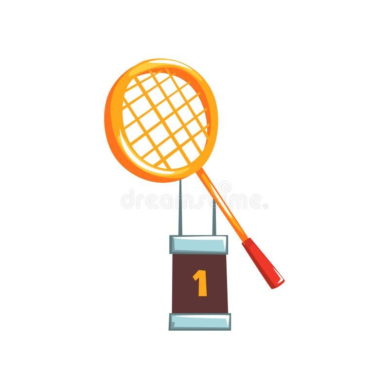 Ilustração do troféu dourado do campeão com raquete de tênis Copo do ` s do vencedor da competição de esporte no estilo liso dos  ilustração do vetor
