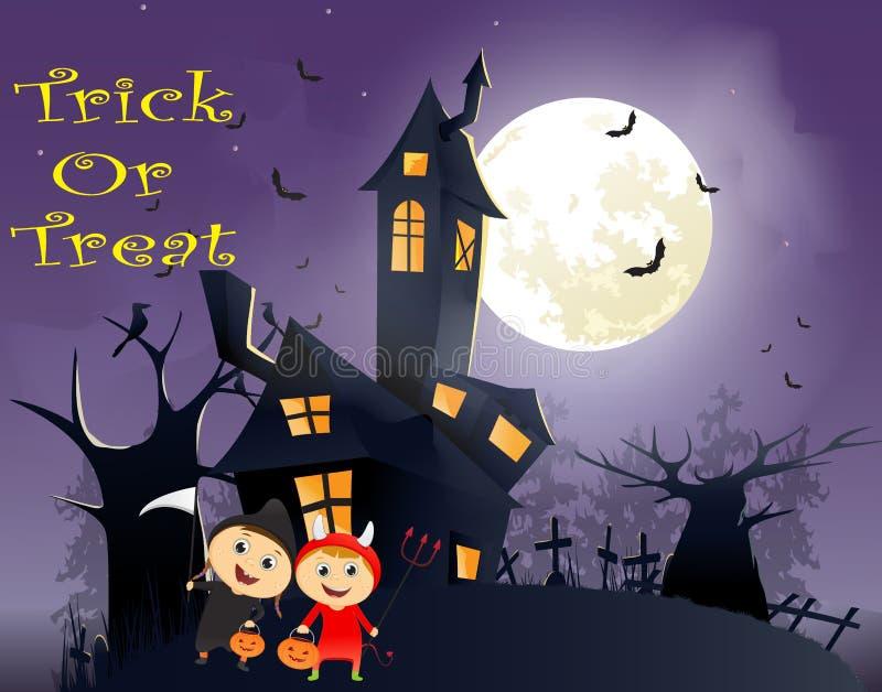 Ilustração do truque ou do tratamento das crianças no traje de Dia das Bruxas ilustração do vetor