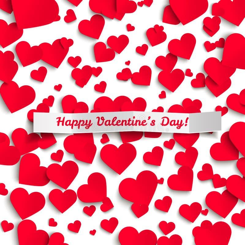 Ilustração do Valentim, corações de papel vermelhos no fundo branco, cartão ilustração royalty free