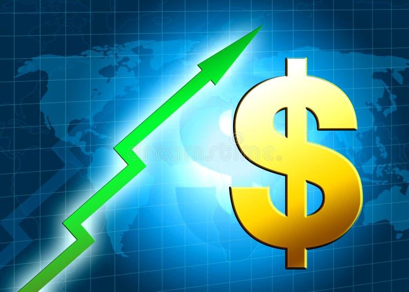 Ilustração do valor de aumento do dólar ilustração stock