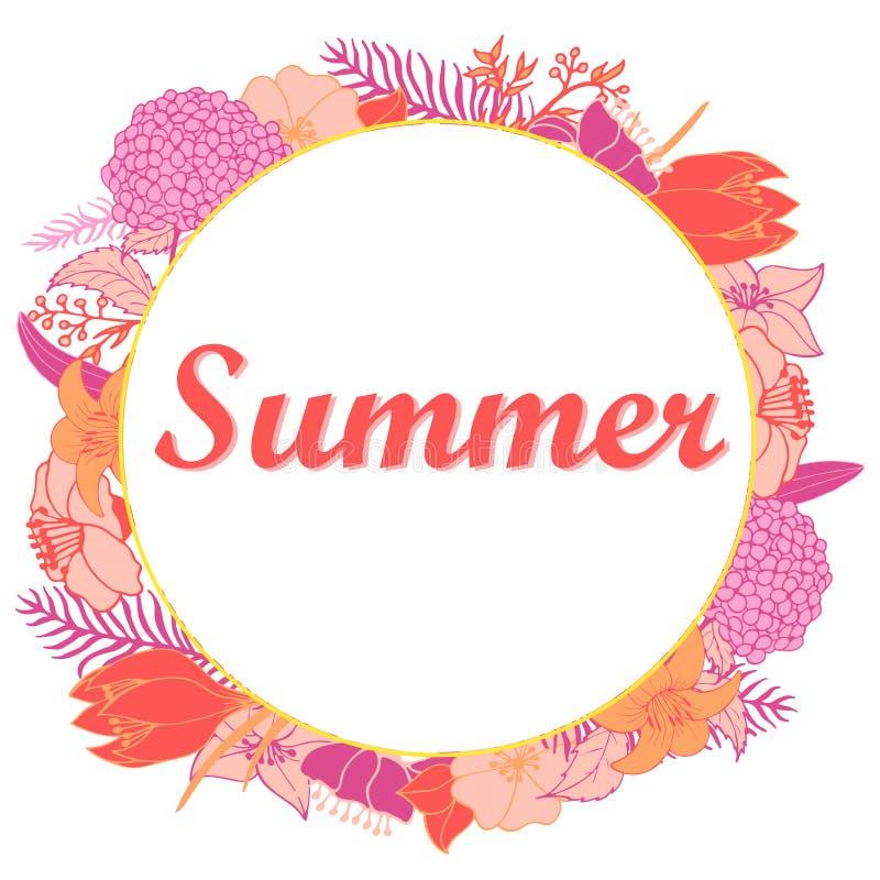 Ilustração do verão com flores brilhantes em um círculo ilustração do vetor