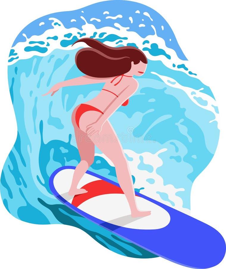 Ilustração do verão com o surfista feliz da jovem mulher no roupa de banho vermelho que monta ondas grandes na prancha azul ilustração do vetor
