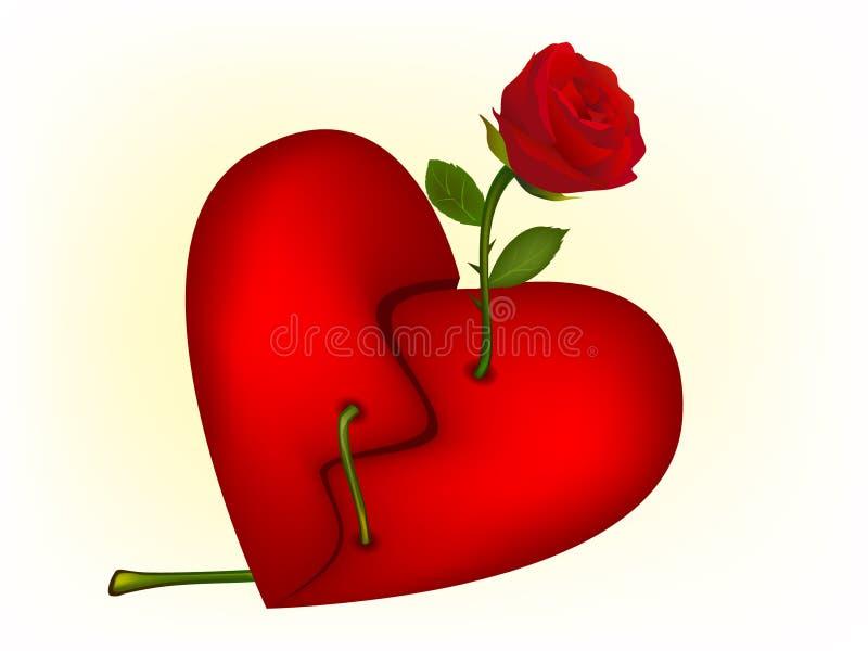 A ilustração do vermelho levantou-se através de um coração quebrado ilustração stock