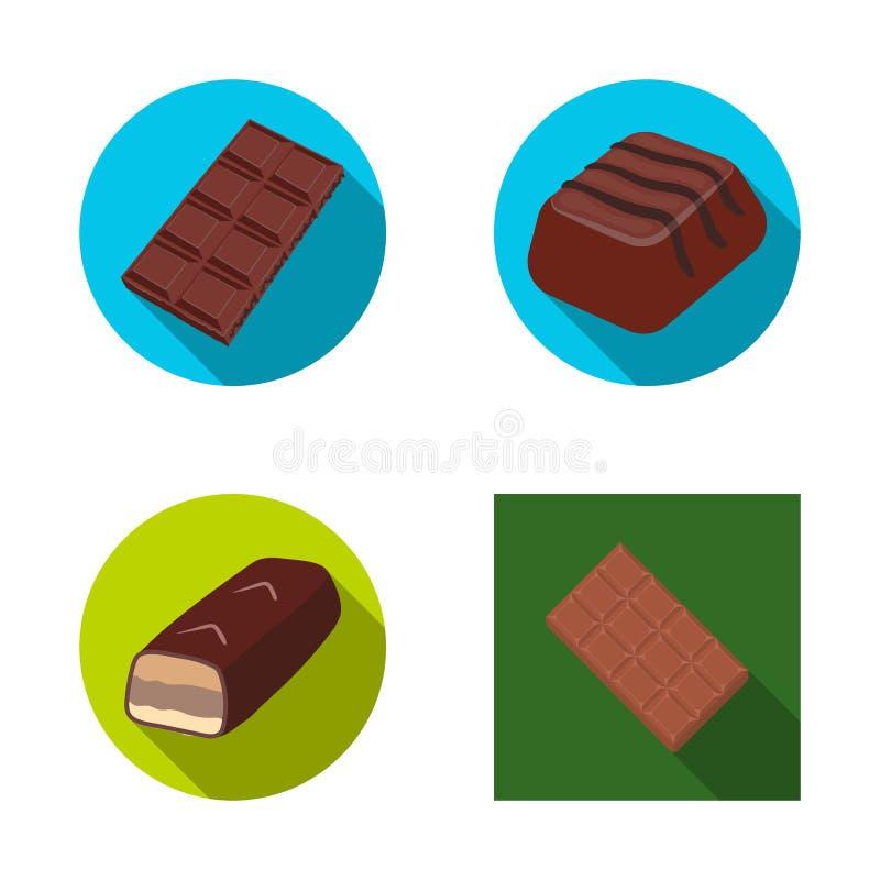 Ilustração do vetor do ícone do chocolate e do sabor Ajuste do símbolo de ações do chocolate e do pedaço para a Web ilustração stock