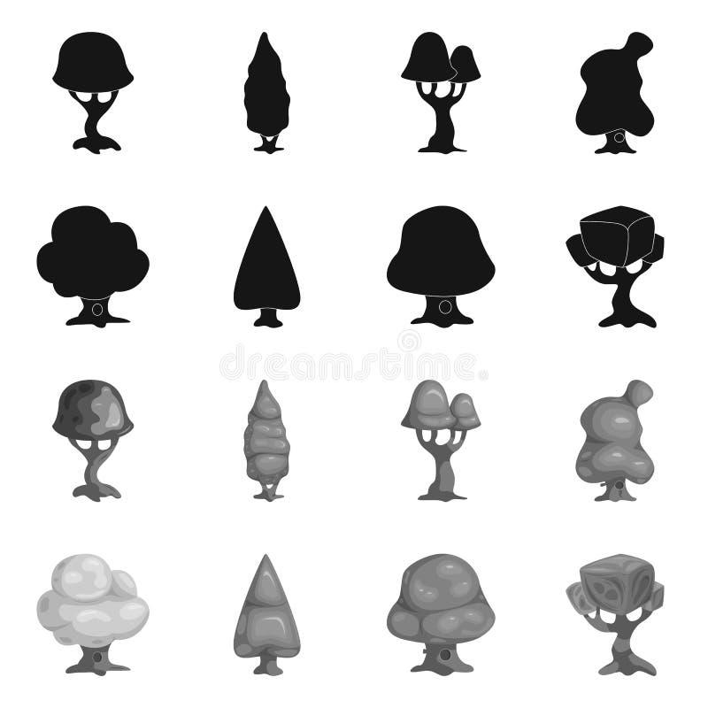 Ilustração do vetor do ícone da árvore e da natureza Coleção do símbolo de ações da árvore e da coroa para a Web ilustração do vetor