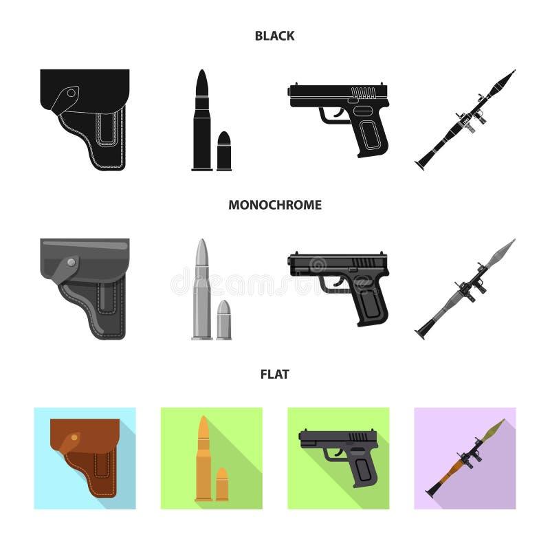 Ilustração do vetor do ícone da arma e da arma Grupo de símbolo de ações da arma e do exército para a Web ilustração stock