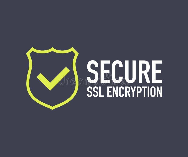 A ilustração do vetor do ícone da conexão segura isolada no fundo branco, estilo liso fixou símbolos do protetor do SSL ilustração stock